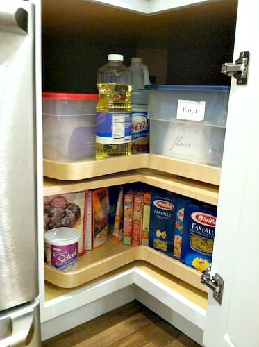 Come look inside our kitchen cabinets andrea dekker - How to organize a lazy susan cabinet ...