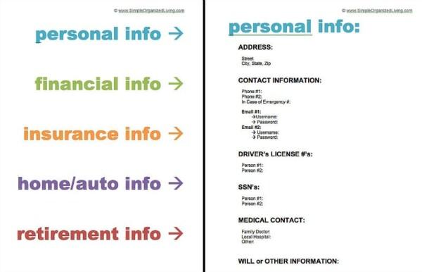 important information binder