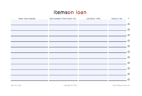 items on loan printable