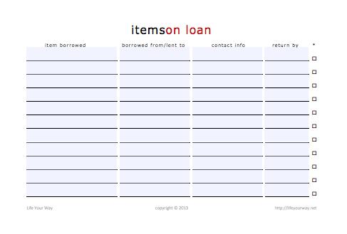 items on loan printable
