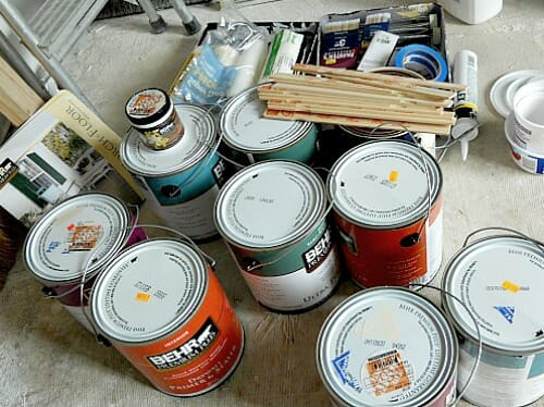lots of paint cans
