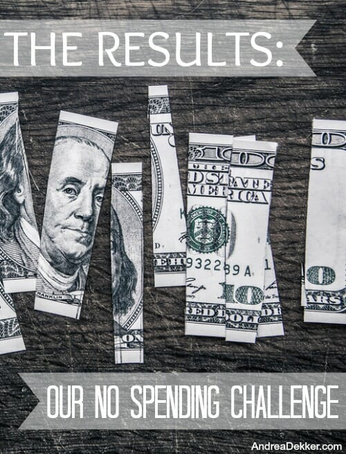 the restuls of our no spending challenge