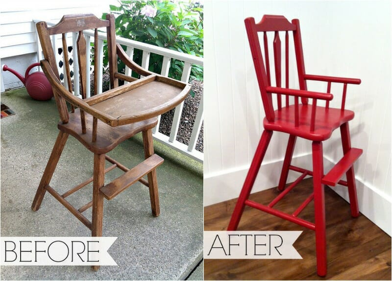 antique highchair transformation