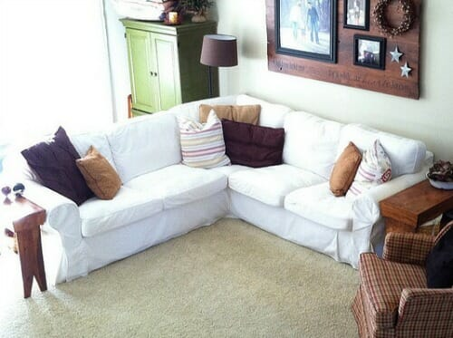 our slip covered sofa