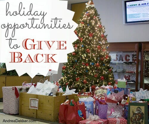 holiday opportunities to give back