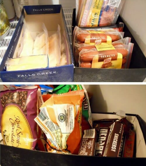 shoe boxes in the freezer