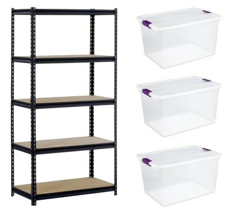 storage shelving and bins