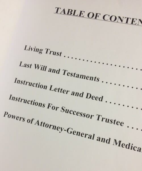 living trust table of contents