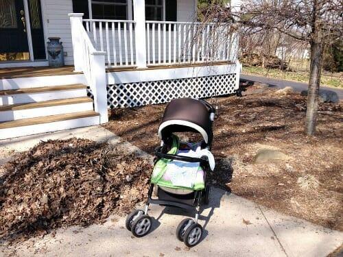 simon helping with yard work