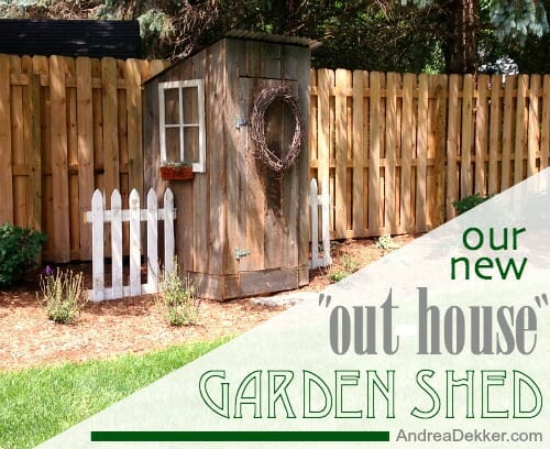 Our New Outhouse Garden Shed - Andrea Dekker Outhouse Potting Shed Designs on old garden shed, green shed, outhouse christmas, outhouse cedar shingle, 4x4 shed, grandmother house shed, types of siding for shed, tool shed,