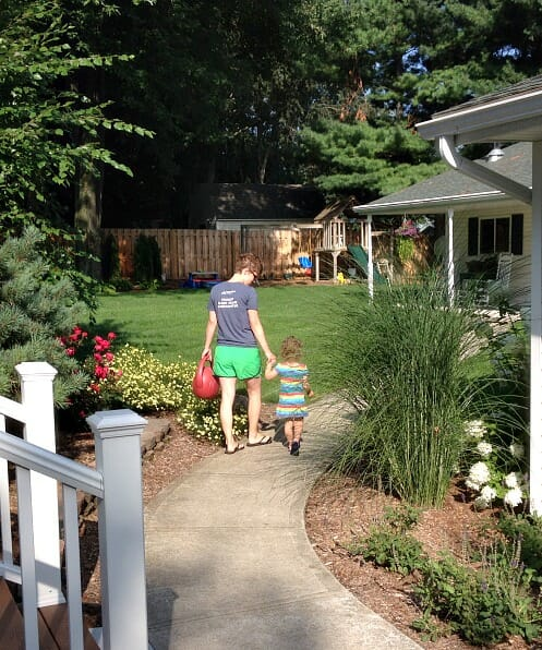 watering the yard with nora