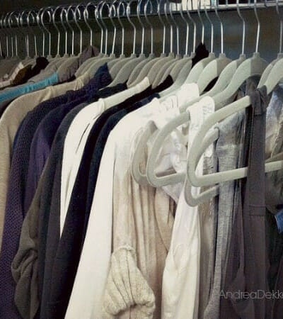 rack of hanging clothes