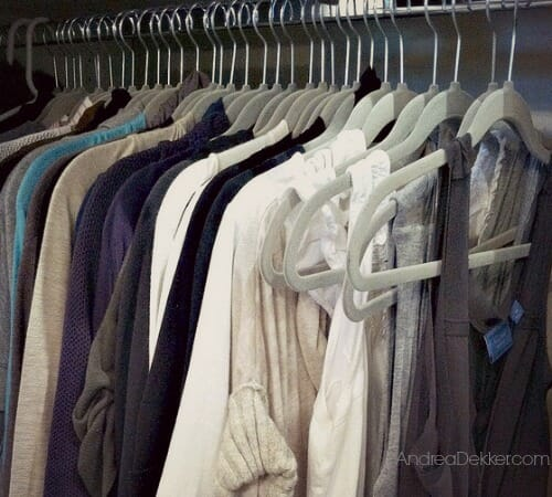 clothes hanging in a closet