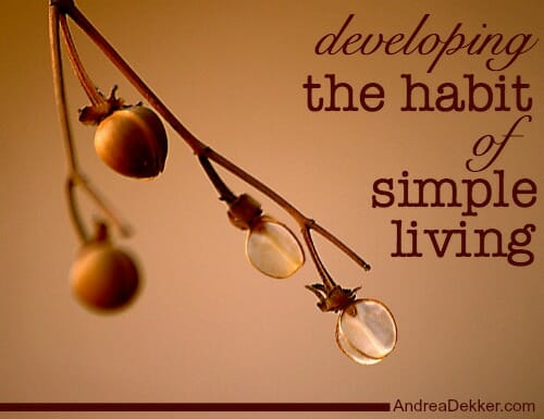 developing the habit of simple living