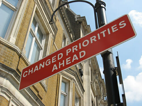 change in priorities