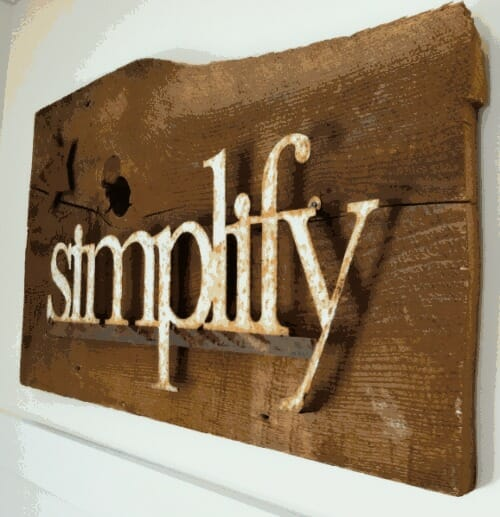 wooden simplify sign