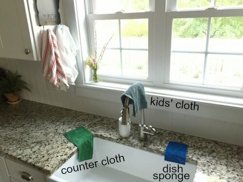 rags hanging on sink