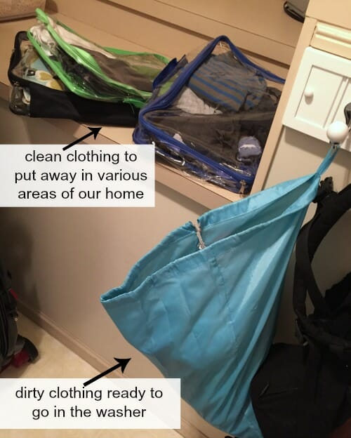 clothing to wash and put away
