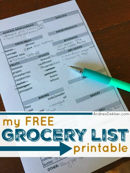 my free grocery list printable andrea dekker