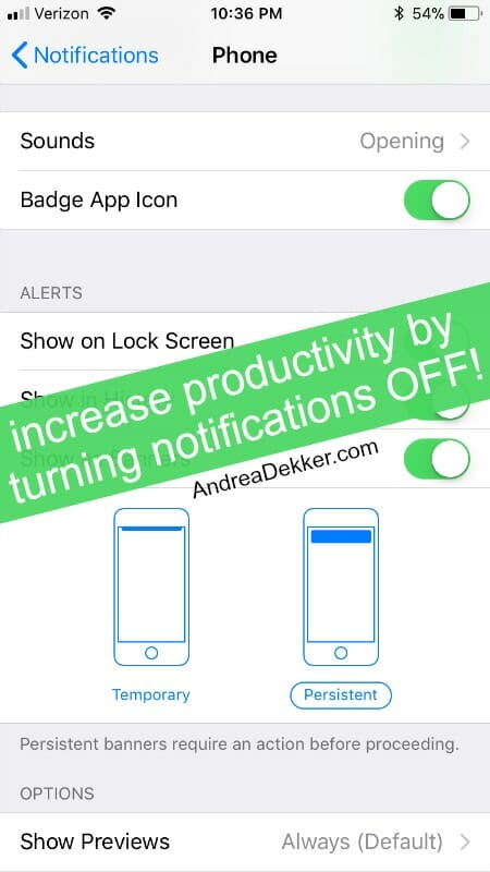 increase productivity by turning notifications off