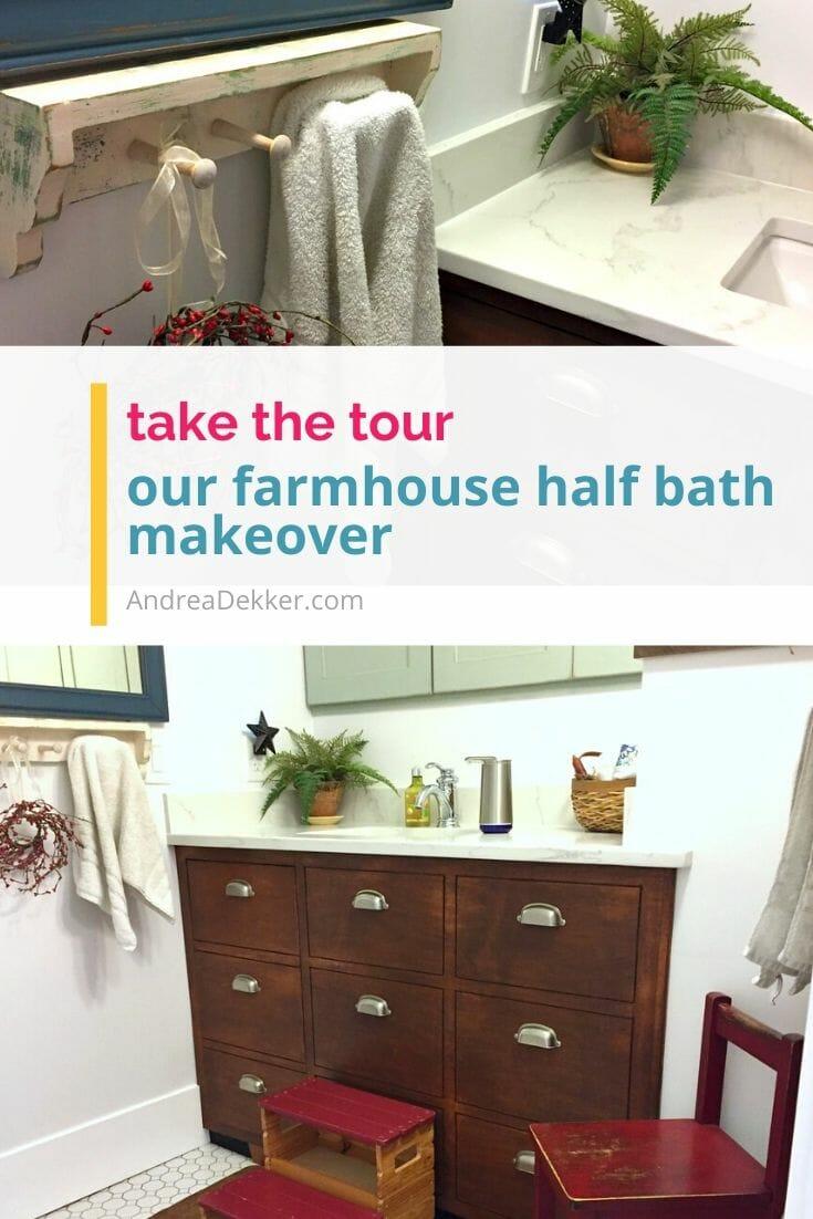 farmhouse half bath makeover via @andreadekker