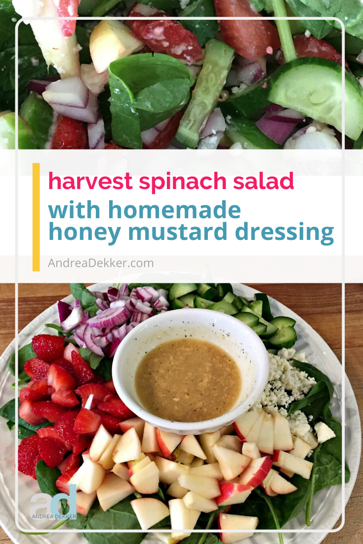 "Harvest Spinach Salad is a fantastic ""loaded salad"" packed with so much produce and smothered in a delicious homemade honey mustard dressing! Enjoy a gourmet-tasting meal while cleaning out your produce drawers! via @andreadekker"