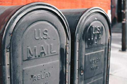 black mailboxes