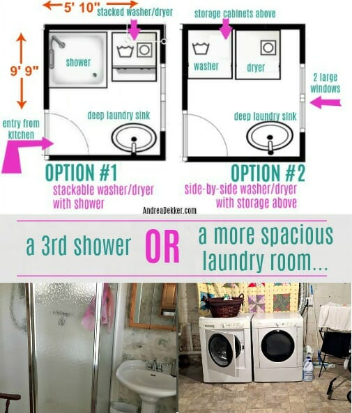 A 3rd Shower Or A More Spacious Laundry Room Help Me Decide Andrea Dekker