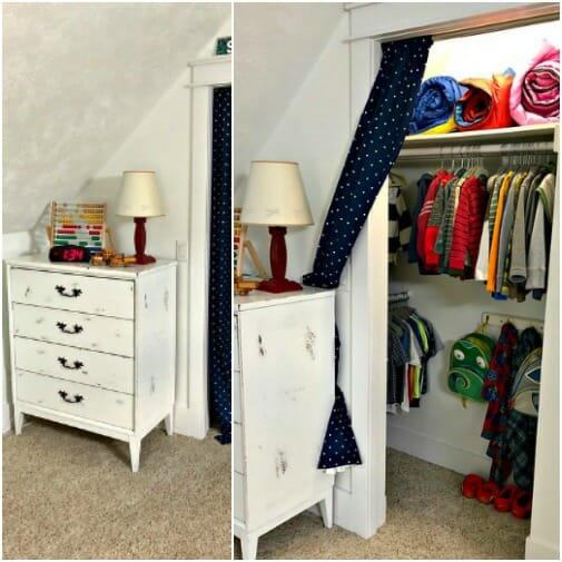 closet with sloped ceilings