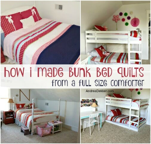 How To Make Bunk Bed Quilts From A Full Size Comforter Andrea Dekker