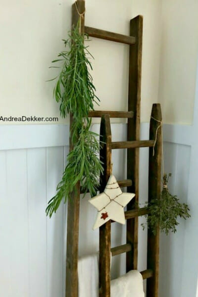 drying herbs on wooden ladders