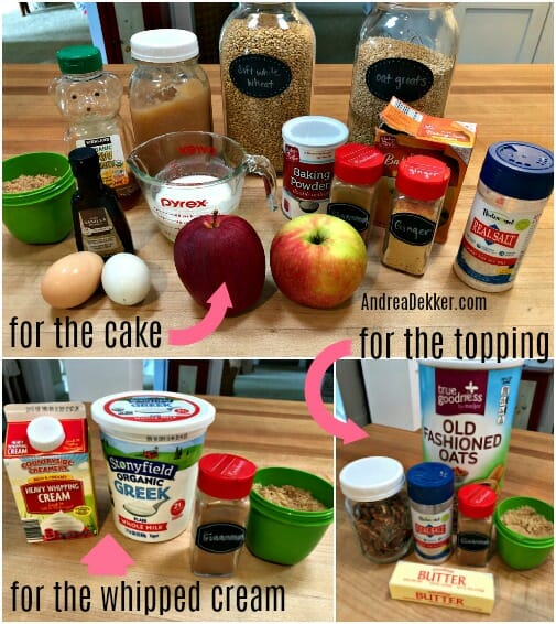 ingredients for whole grain apple cake