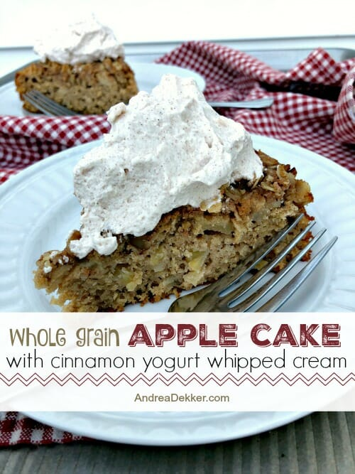 a piece of whole grain apple cake with yogurt whipped cream
