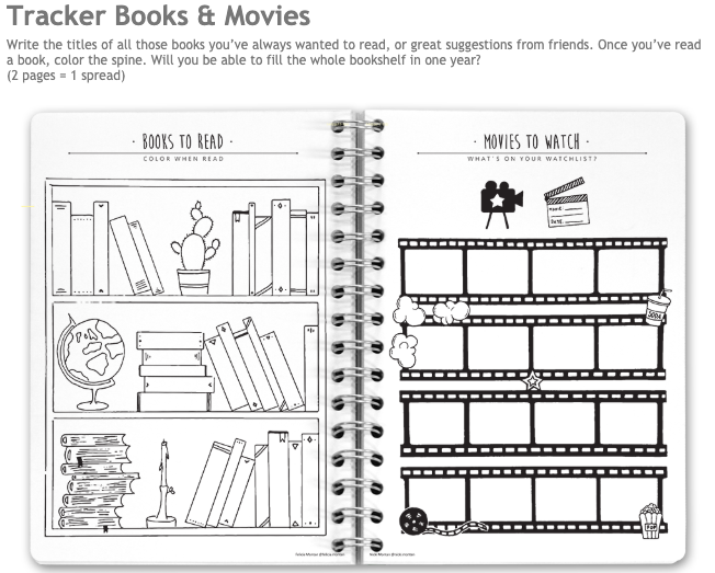 book and movie tracker pages