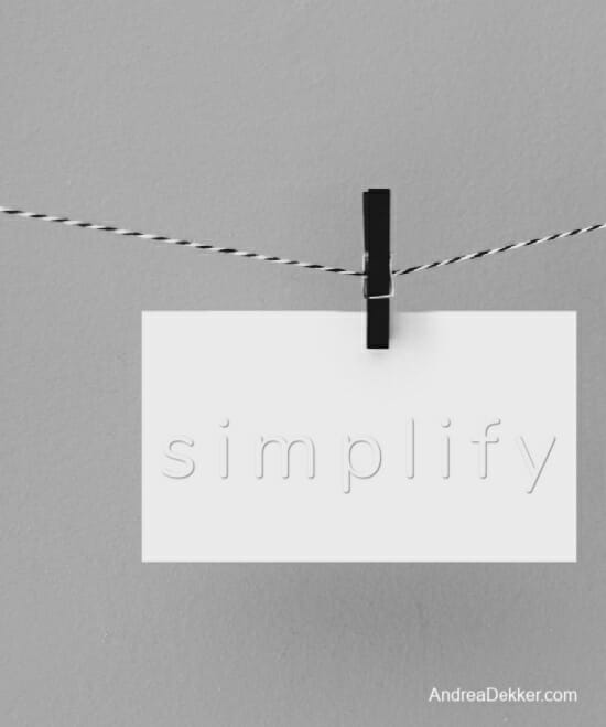 note card with the word simplify on it