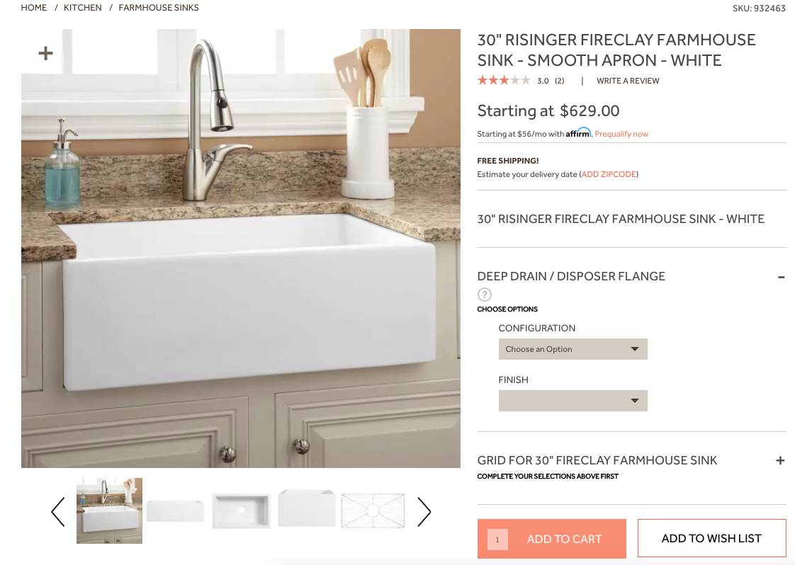 farmhouse sink from signature hardware