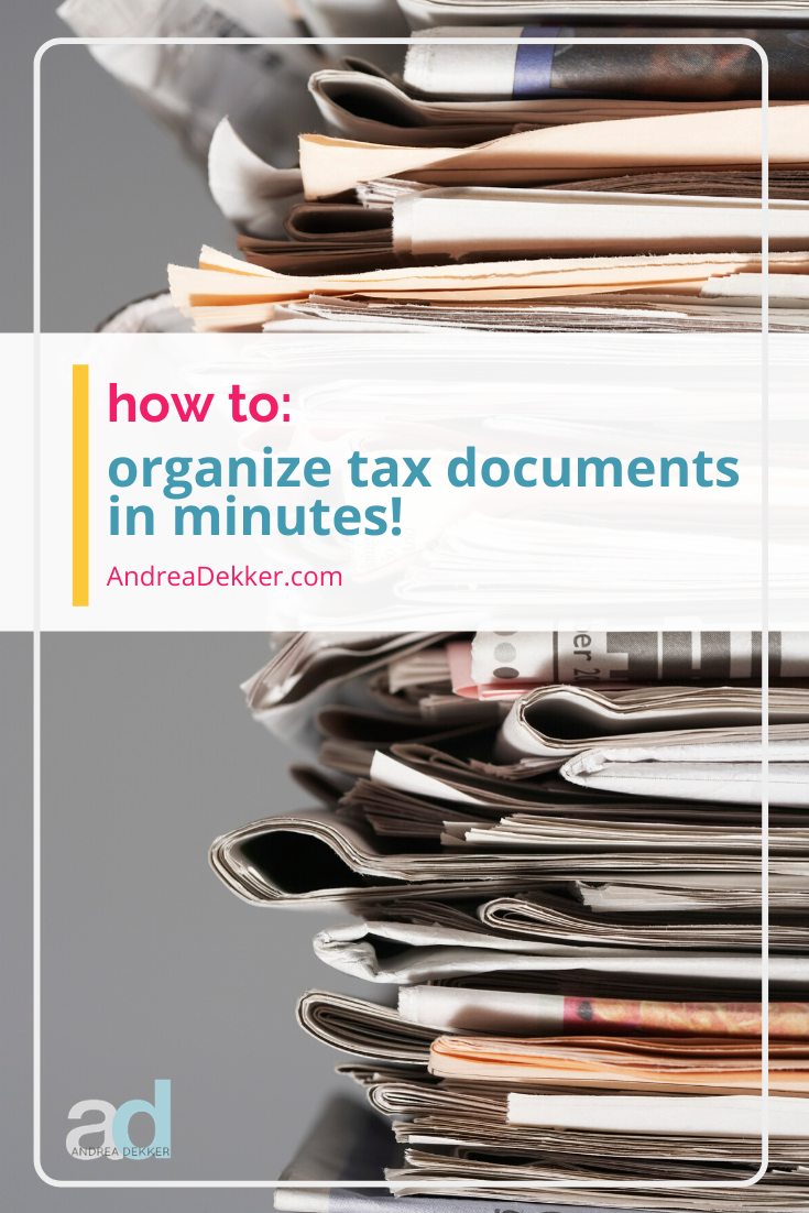 Learn how to organize tax documents for an entire year in just a few minutes! Save yourself hours of time and stress with this simple tip! via @andreadekker