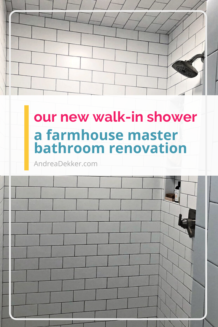 farmhouse bathroom shower renovation via @andreadekker