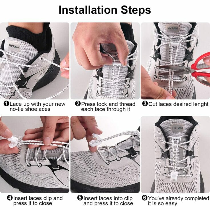 how to install no-tie shoe laces