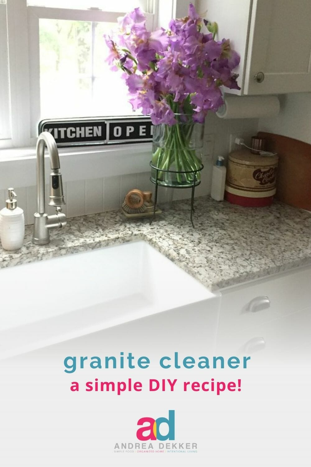 Give your granite surfaces a streak-free shine with this super simple, DIY cleaner that's safe for granite, extremely effective, and costs pennies to make! via @andreadekker
