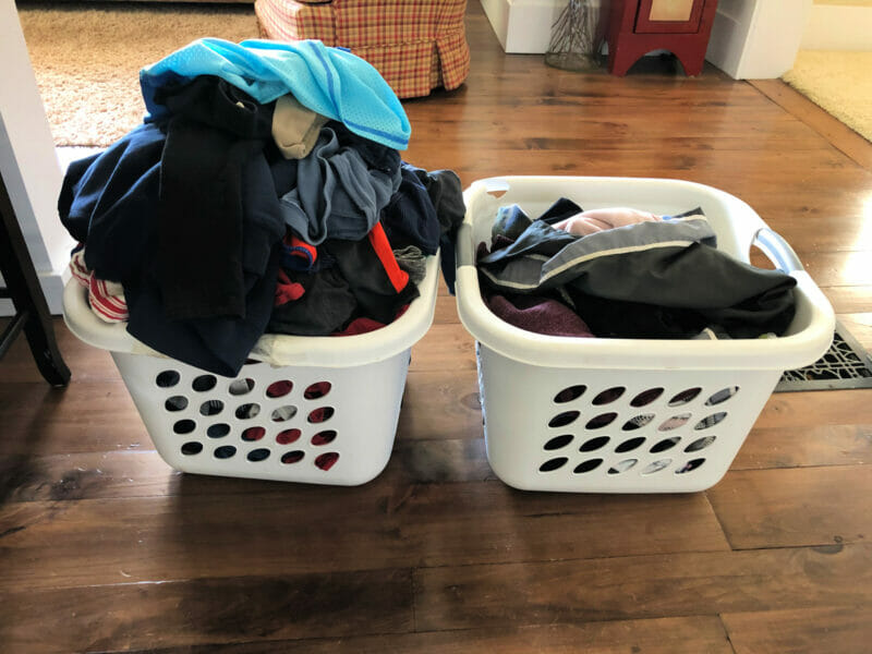 piles of clean laundry
