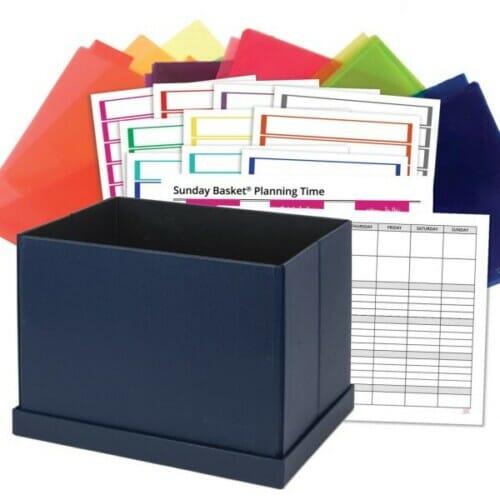 sunday basket paper organizing system