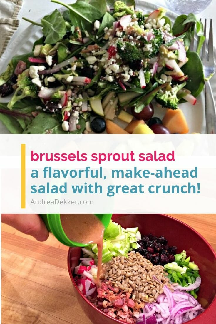 "Even if you think you hate Brussels Sprouts, you'll be pleasantly surprised by the flavor, crunch, and tang of this delicious ""salad""! A super easy, make-ahead salad or side dish, this recipe for Shredded Brussels Sprouts Salad is a must-try! via @andreadekker"