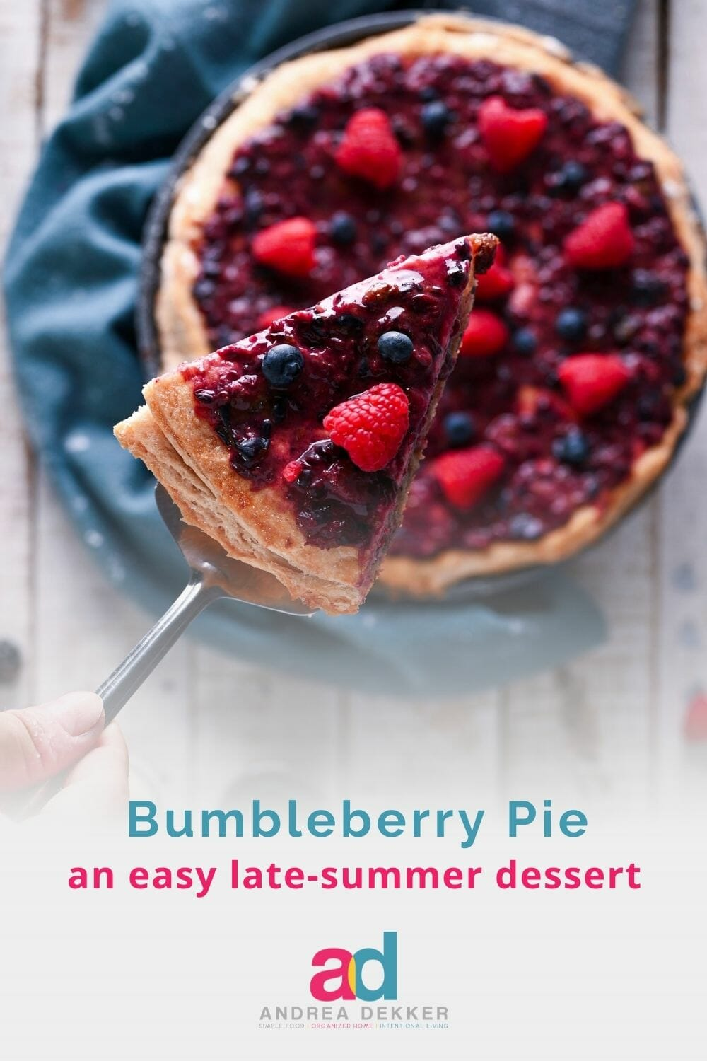 Bumbleberry Pie is a delicious way to enjoy all your favorite flavors of spring and summer in one easy dessert! via @andreadekker