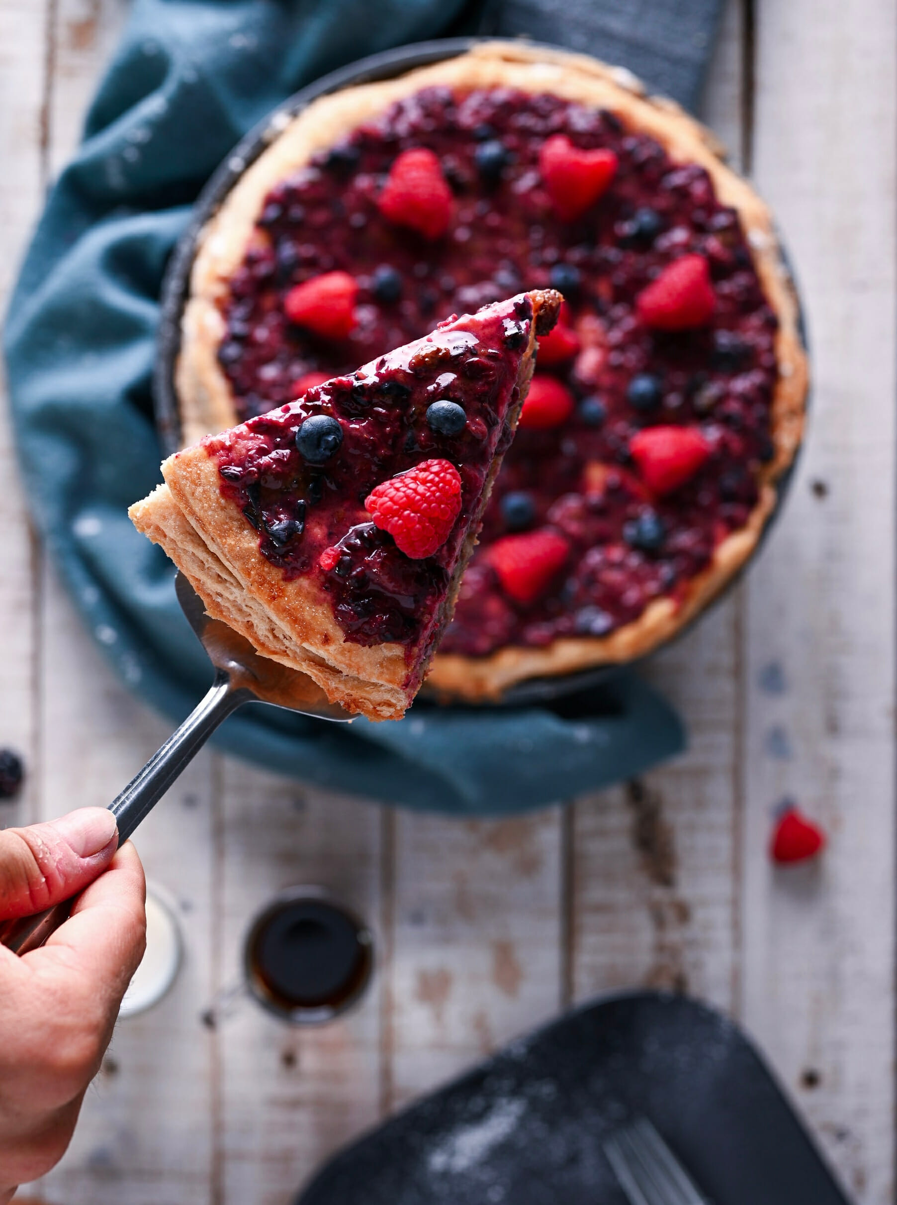 a slice of bumbleberry pie