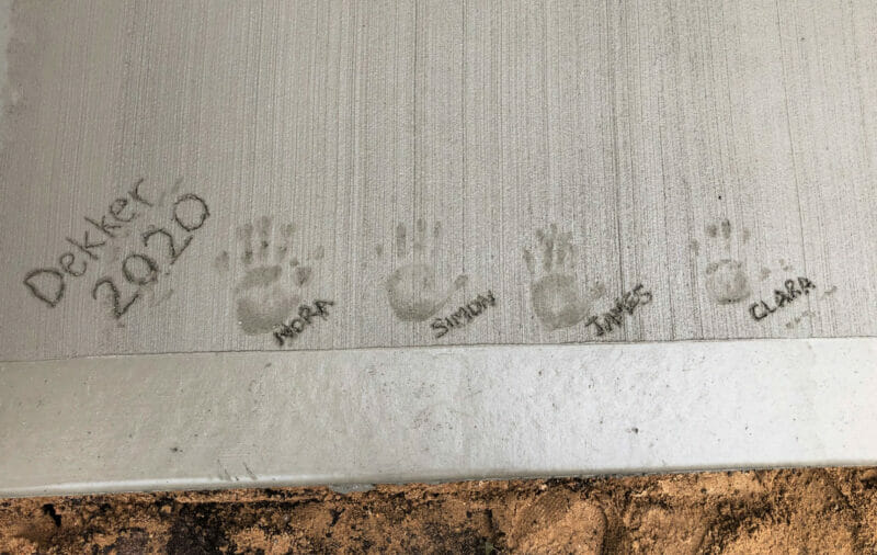 handprints in the concrete