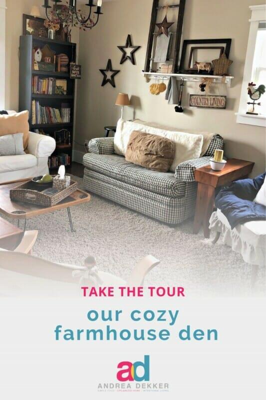 our cozy farmhouse den