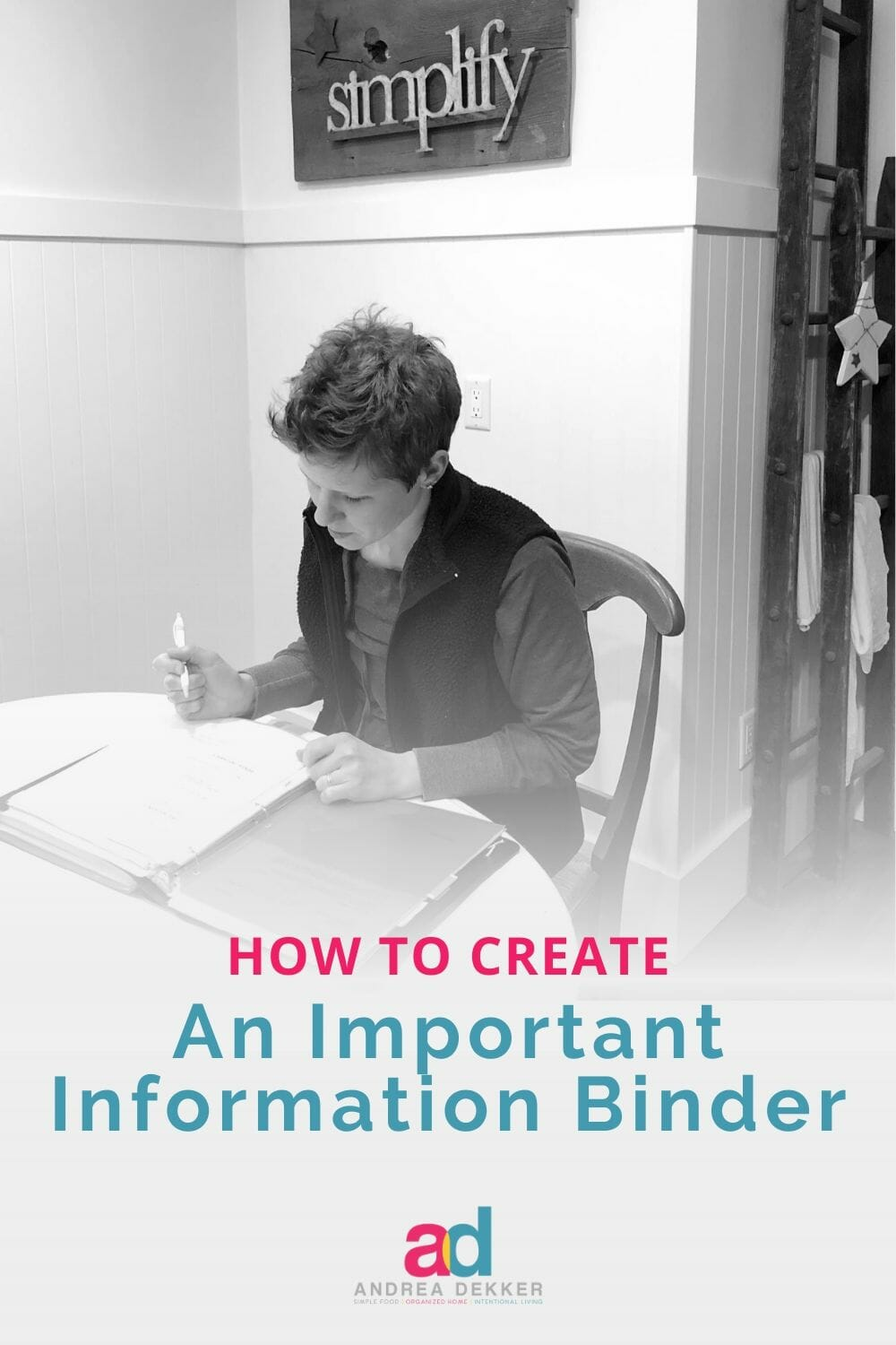 how to create an important information binder
