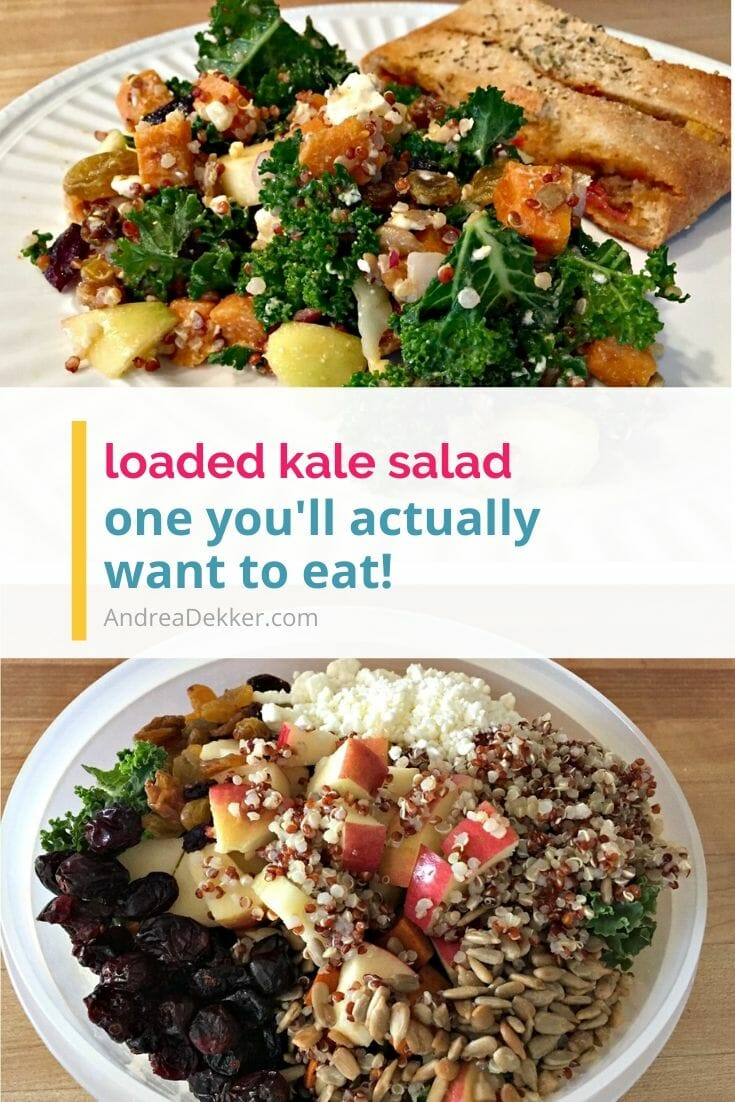 If you want to like kale but haven't found a favorite recipe, give this delicious loaded kale salad a try! It's packed with flavor and nutrients! via @andreadekker