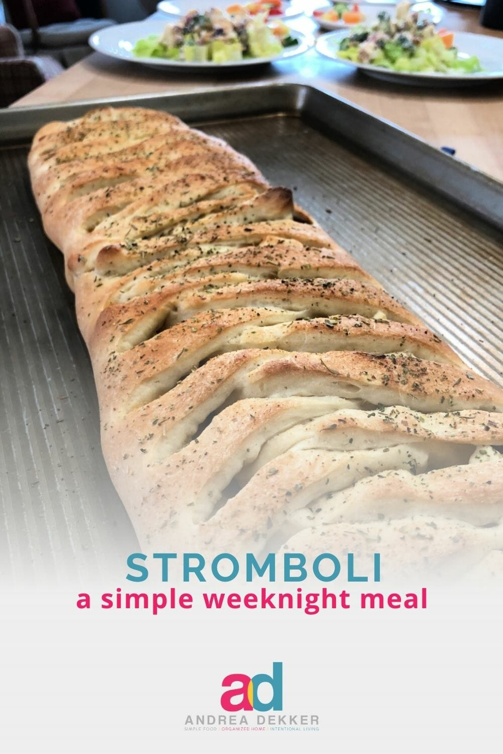 What's crispy on the outside, soft and cheesy on the inside, and ready to eat in roughly 30 minutes? Stromboli! Our family's favorite weeknight meal! via @andreadekker